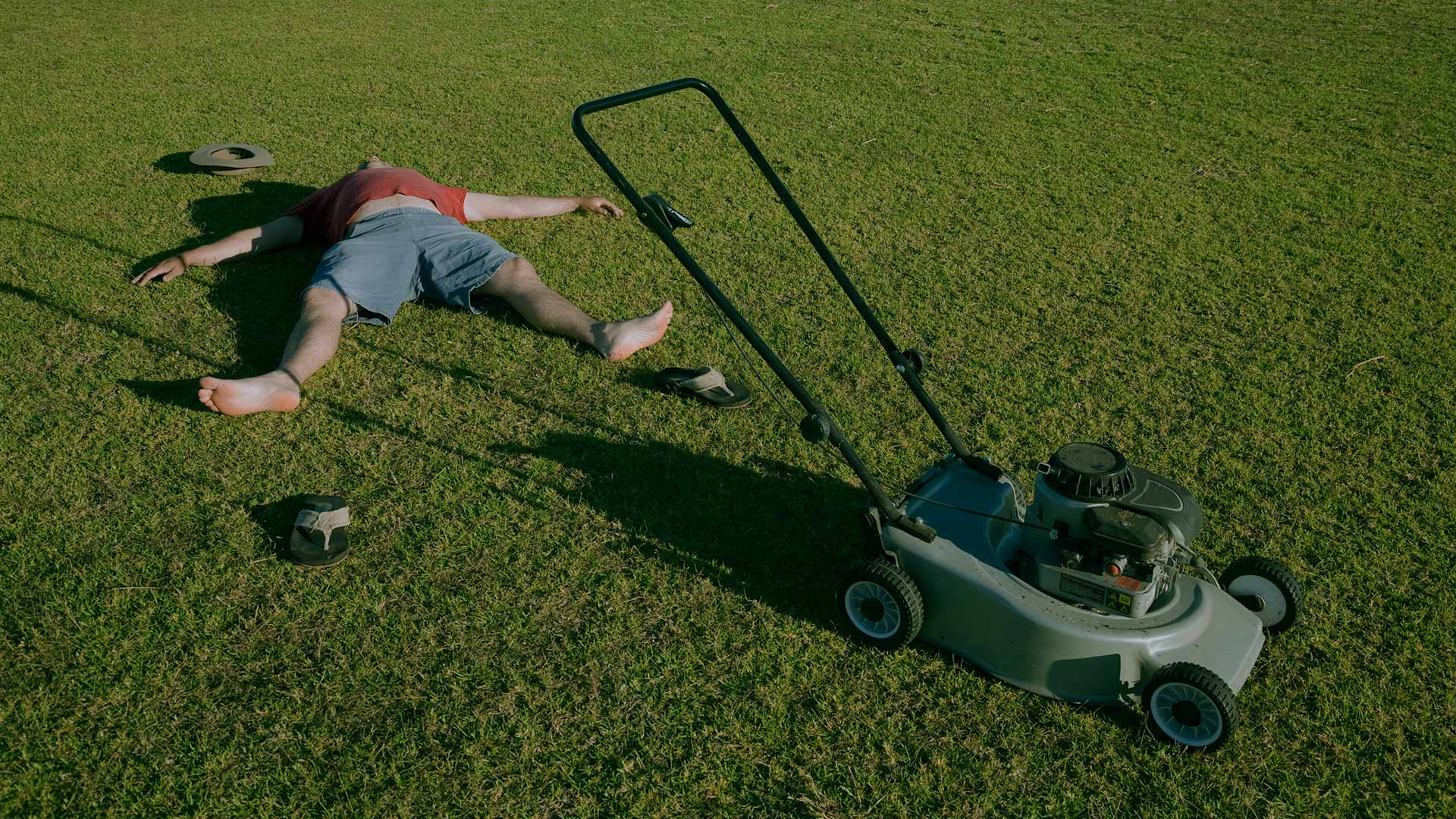 Weekly Lawn Maintenance Package, $40. Showing lawn mower on grass next to exhausted home owner